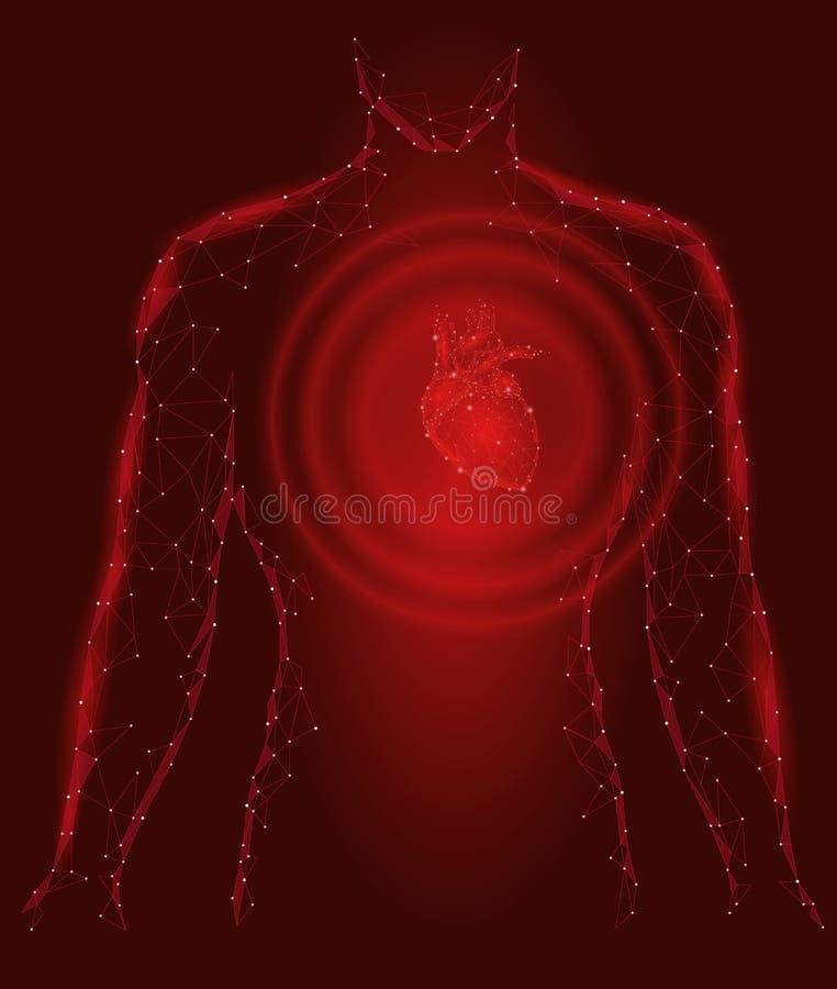 Sirva el modelo sano de la medicina de los golpes de corazón de la silueta 3d bajo polivinílico Fondo conectado triángulo del roj libre illustration