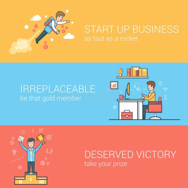 Sirva el negocio plano linear del trofeo del lugar de trabajo de las nubes stock de ilustración