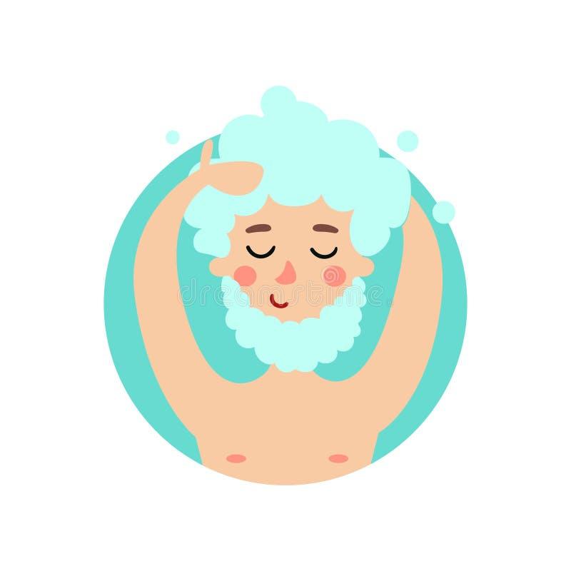 Sirva el pelo y la barba que se lavan con el champú, hombre alegre que toma cuidado de su ejemplo del vector de los dientes libre illustration