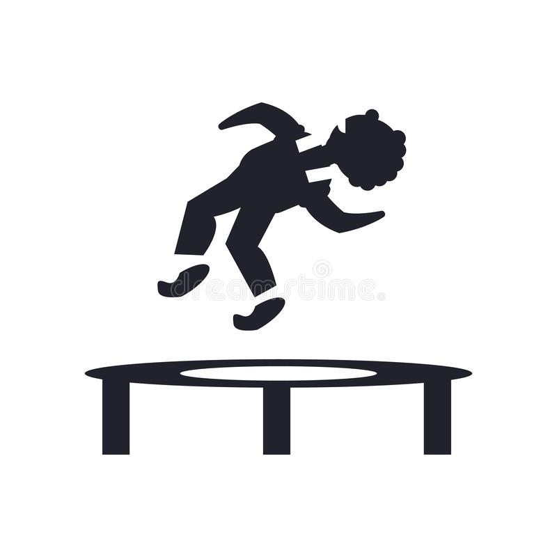 Sirva el salto de un isolat de la muestra y del símbolo del vector del icono del trampolín stock de ilustración