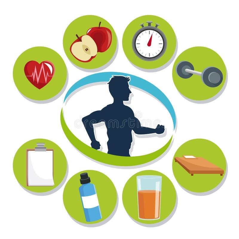 Sirva el sistema del funcionamiento y del icono del diseño sano de la forma de vida ilustración del vector