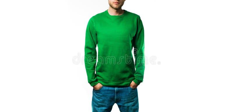 Sirva el soporte en la sudadera con capucha verde en blanco, camiseta, en un fondo blanco, mofa para arriba, espacio libre fotos de archivo libres de regalías
