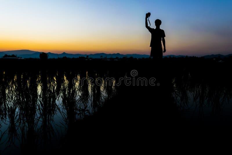 Sirva el soporte y tome la cámara en el campo del arroz imagen de archivo