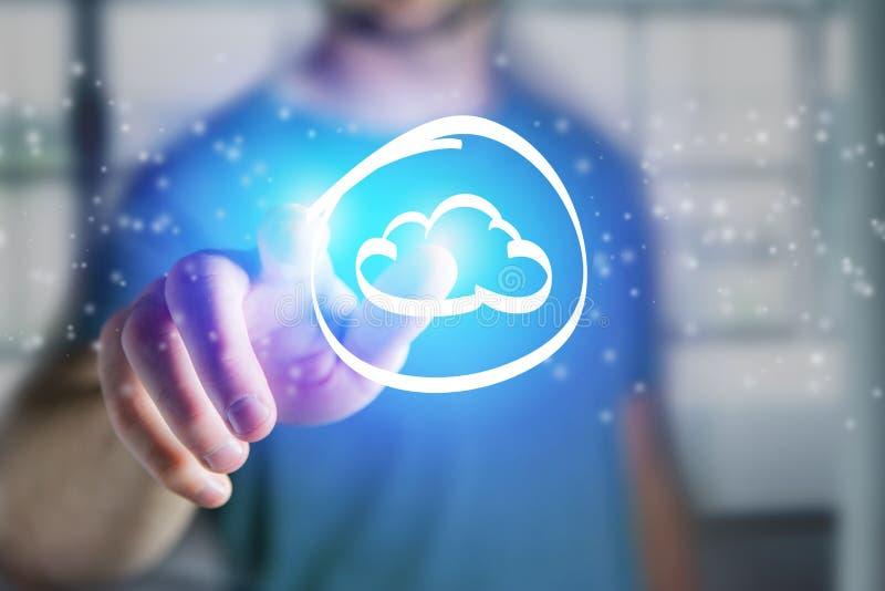 Sirva el tacto de un icono de la nube en un interfaz futurista - tecnología imágenes de archivo libres de regalías