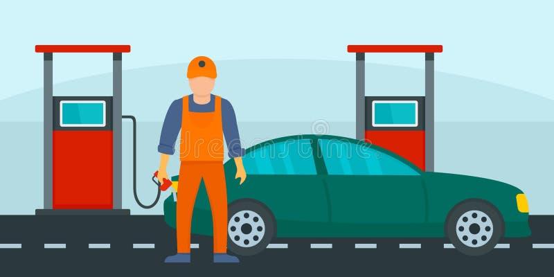 Sirva el terraplén el coche con el fondo de la gasolina, estilo plano stock de ilustración