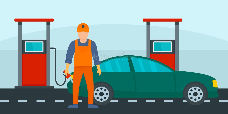Sirva el terraplén el coche con el fondo de la gasolina, estilo plano ilustración del vector