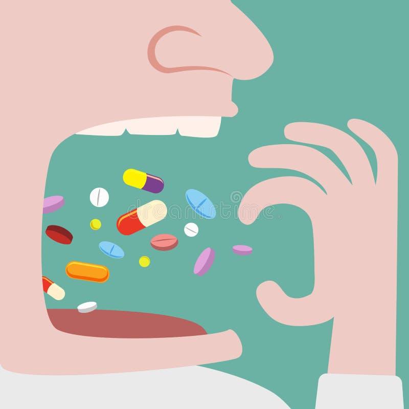 Sirva el tiro muchas píldoras adentro a su boca stock de ilustración