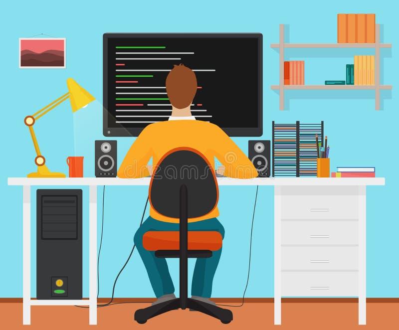 Sirva el trabajo trasero del programador en su ordenador de la PC Codificación y programación Programador del interior de la ofic stock de ilustración