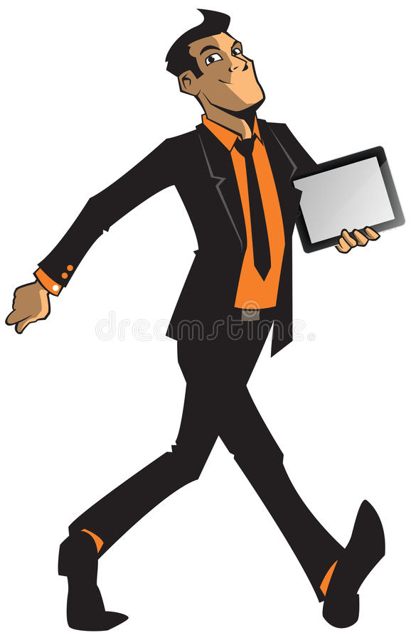 Sirva en un traje que lleva una tableta de gráficos libre illustration