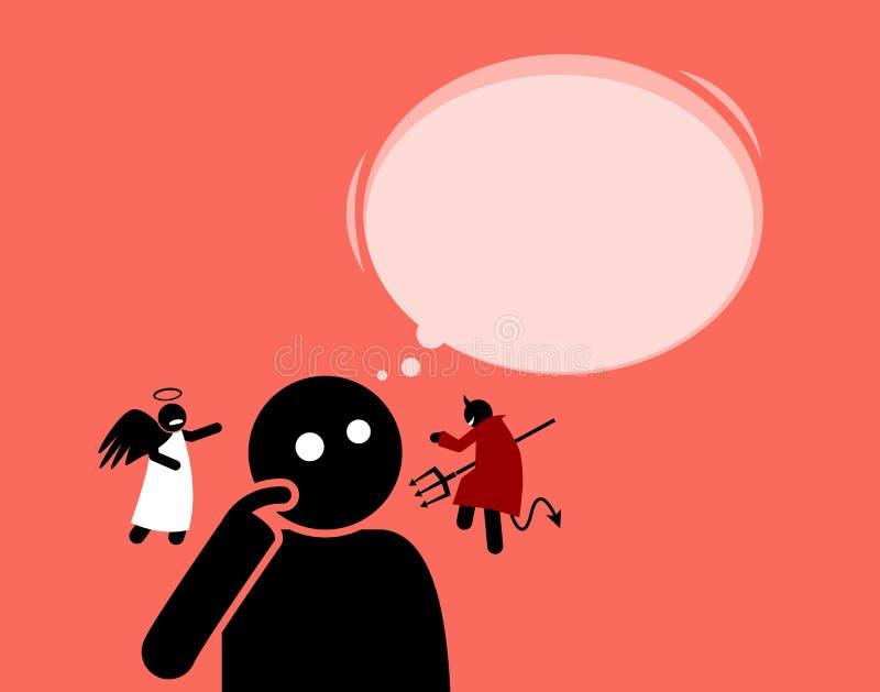 Sirva escuchar el ángel y el diablo que están susurrando a sus oídos ilustración del vector