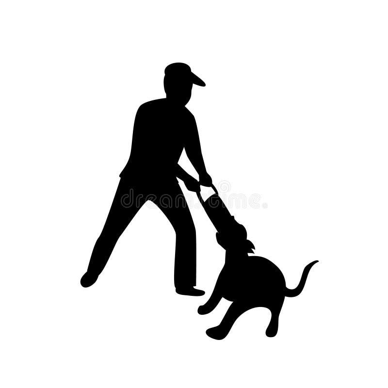 Sirva jugar con su perro que tira del ejemplo aislado silueta del vector del juego ilustración del vector