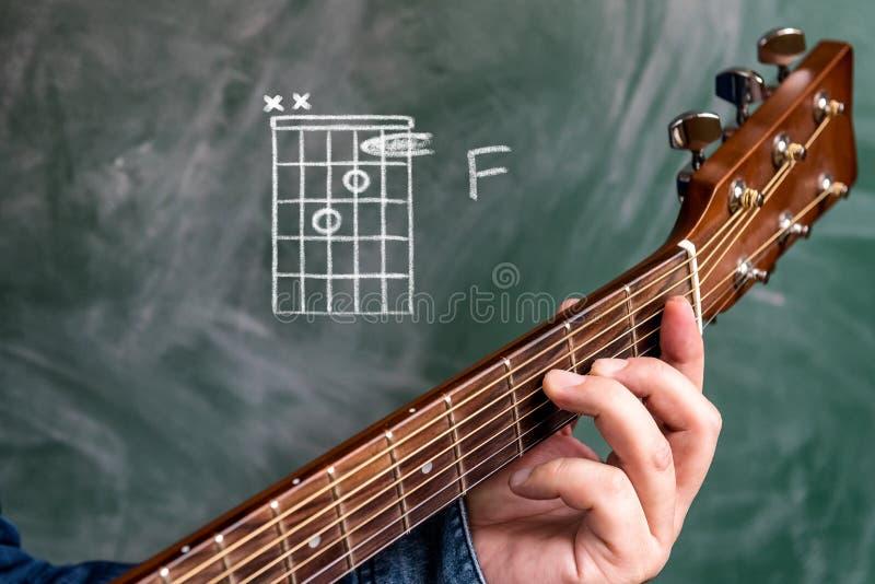 Sirva jugar los acordes de la guitarra exhibidos en una pizarra, acorde F foto de archivo
