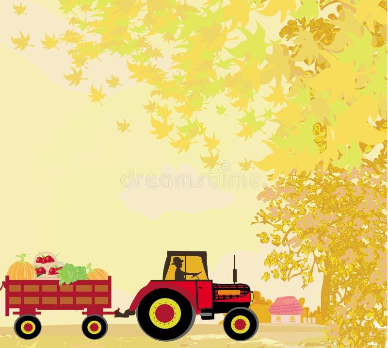 Sirva la conducción de un tractor con un remolque lleno de verduras en autum ilustración del vector