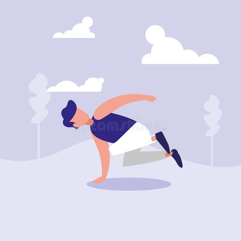 Sirva la danza de rotura del baile en carácter del avatar del paisaje libre illustration