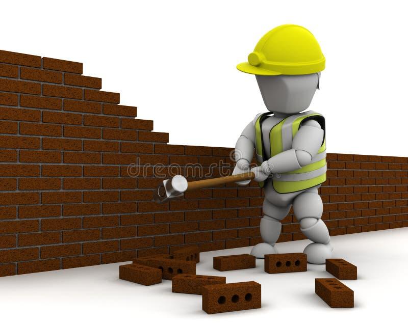 Sirva la demolición de una pared con un martillo de trineo libre illustration