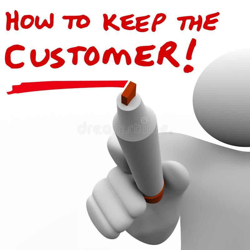 Sirva la escritura cómo guardar al cliente a bordo ilustración del vector