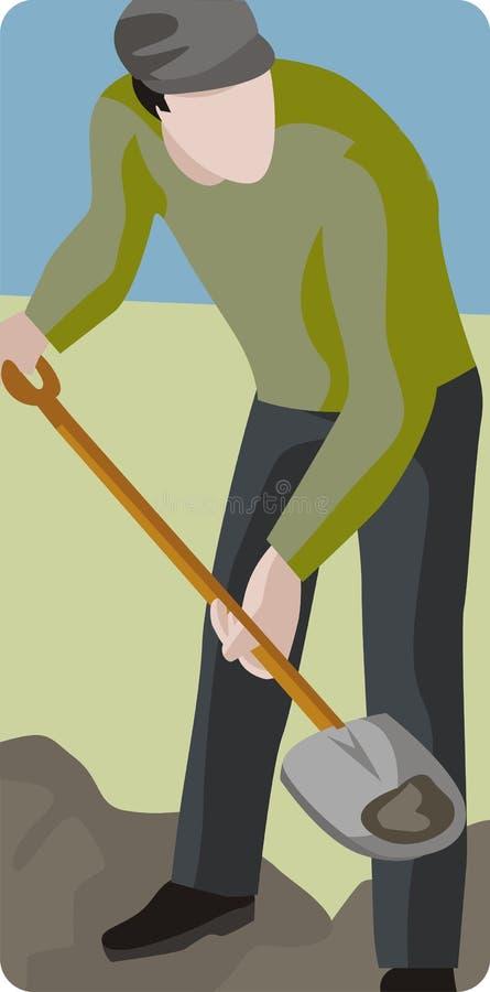 Sirva la excavación con la pala stock de ilustración
