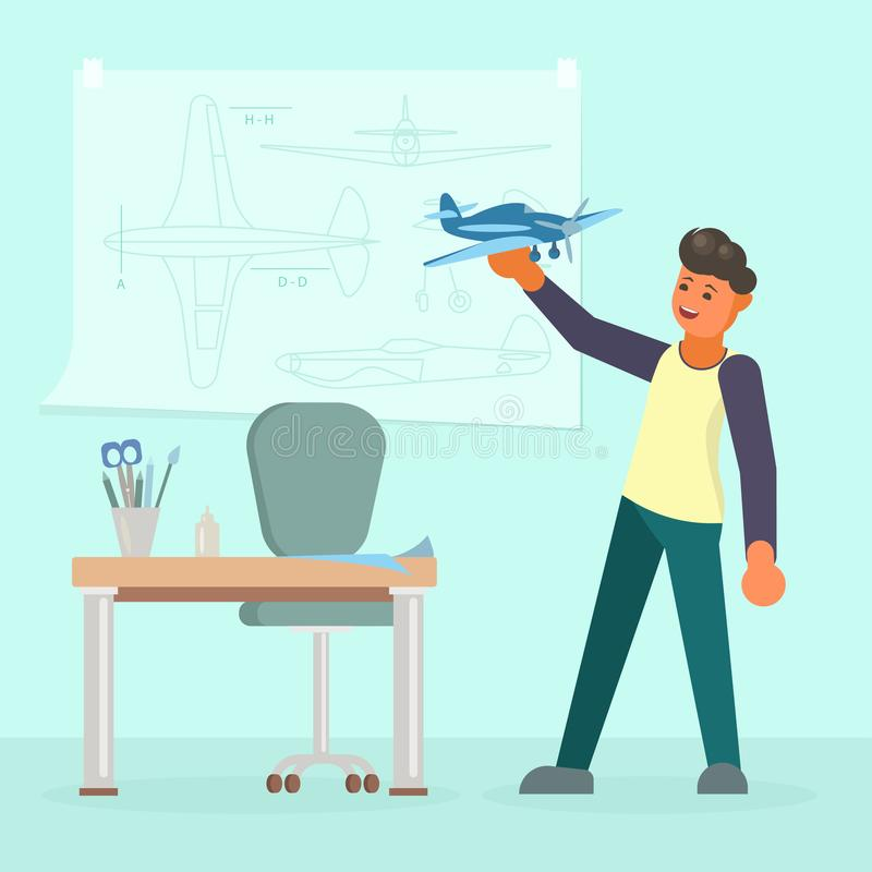 Sirva la fabricación del modelo del ejemplo plano del vector del aeroplano stock de ilustración