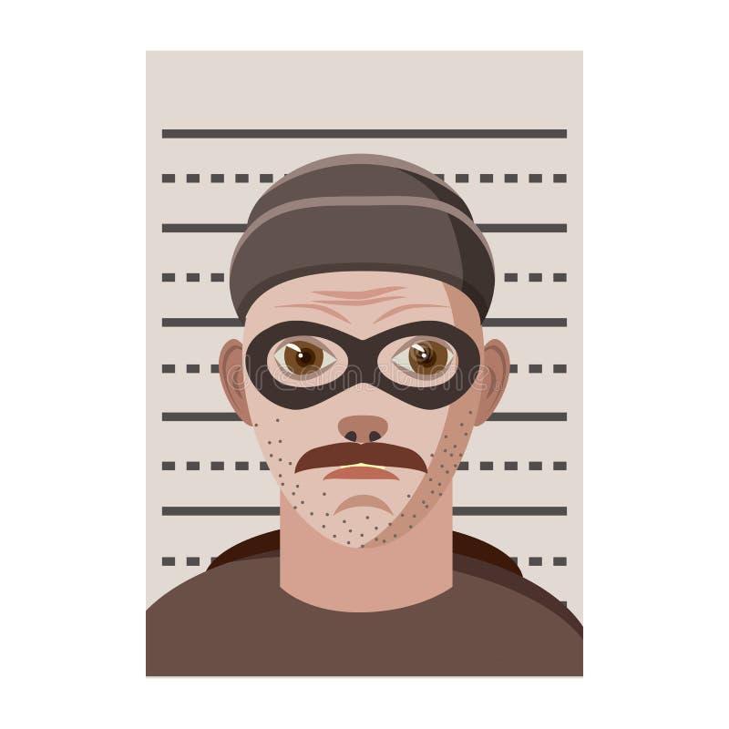 Sirva la foto arrestada en el icono de la policía, estilo de la historieta stock de ilustración