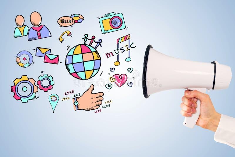 Sirva la mano con el megáfono, medios iconos sociales ilustración del vector