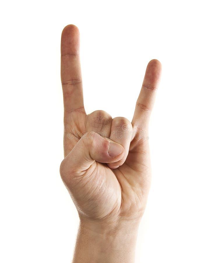 Sirva la mano del ` s que da la muestra del rock-and-roll imagen de archivo libre de regalías