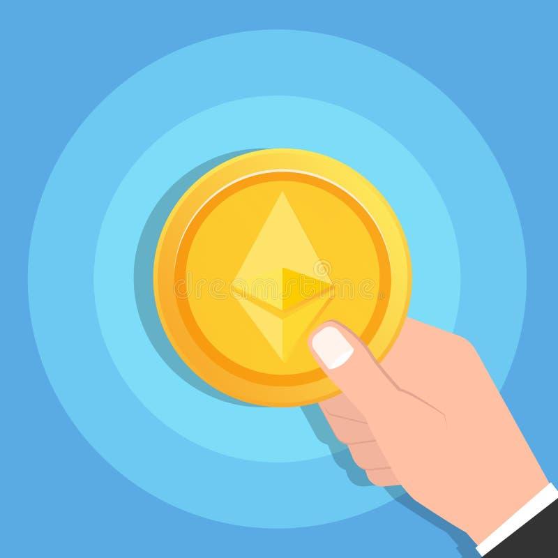 Sirva la mano que lleva a cabo el icono de la moneda de oro de Ethereum Cryptocurrency Concepto de la tecnología de Blockchain ilustración del vector