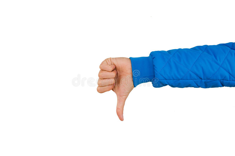 Sirva la mano que muestra los pulgares abajo aislados en el fondo blanco aversión foto de archivo libre de regalías