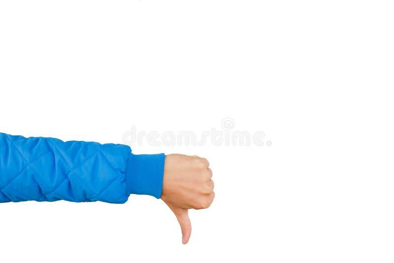 Sirva la mano que muestra los pulgares abajo aislados en el fondo blanco aversión imágenes de archivo libres de regalías