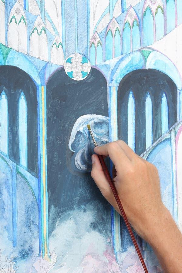 Sirva la mano que pinta el cuadro gótico abstracto stock de ilustración