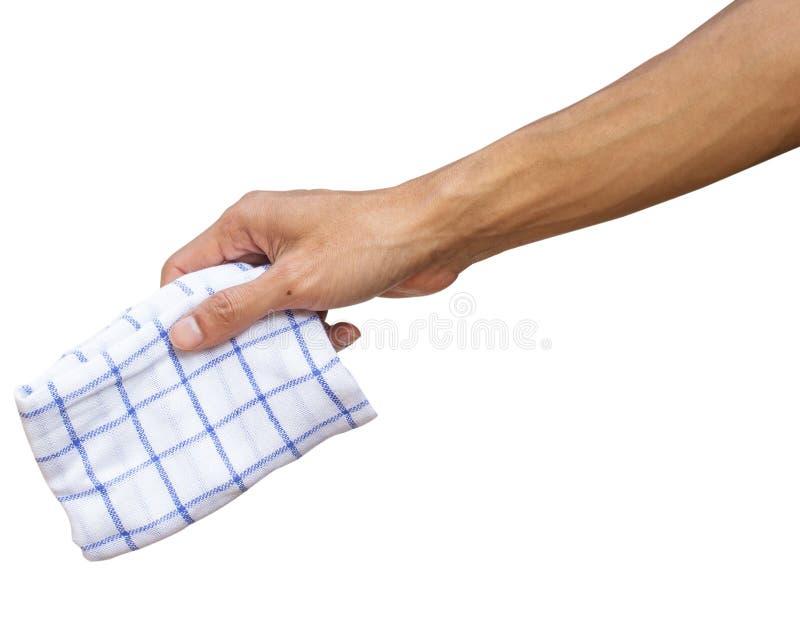Sirva la mano que sostiene el pañuelo o los trapos de la tabla aislados en blanco fotos de archivo
