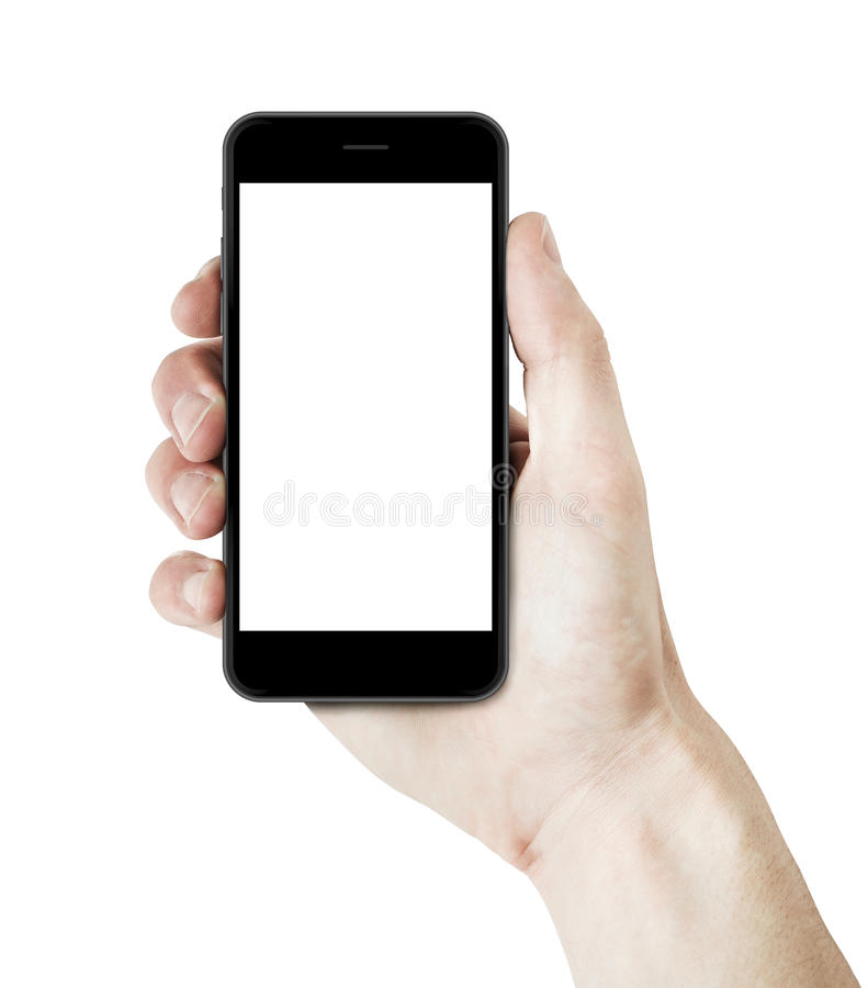 Sirva la mano que sostiene un smartphone con la pantalla en blanco imagen de archivo
