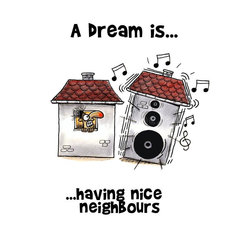 Sirva la mirada en choque a la casa formada altavoz de su vecino stock de ilustración