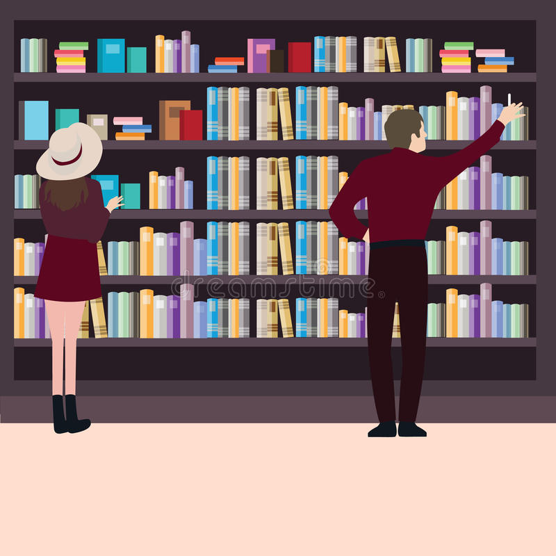 Sirva a la mujer que busca los libros en la biblioteca juntos alrededor de la situación del estante de librería libre illustration