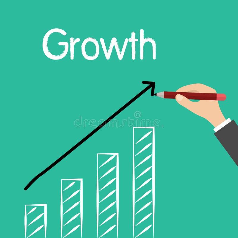 Sirva la palabra de la escritura de la mano, crecimiento, con el dibujo de la estadística de levantamiento, vector stock de ilustración