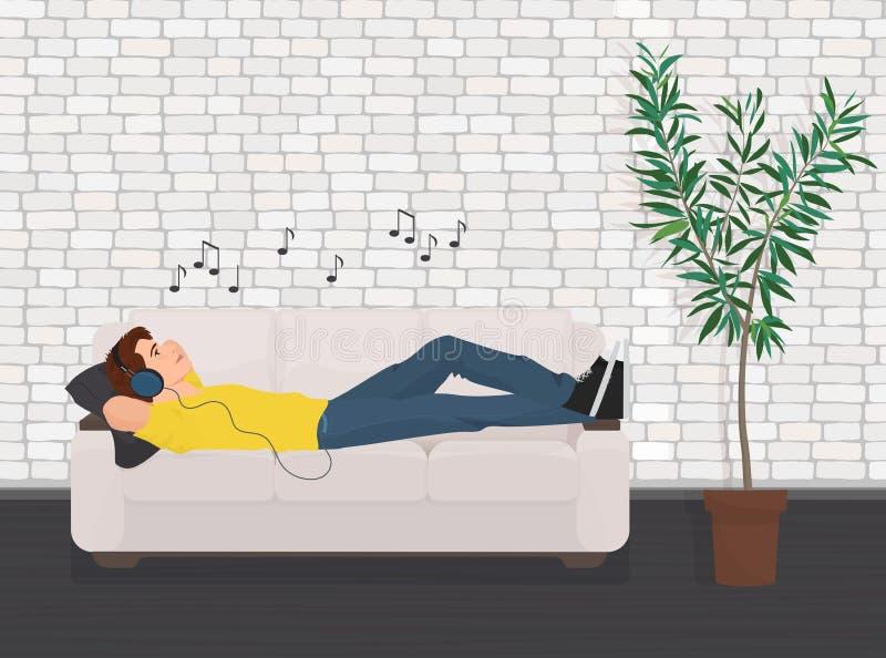 Sirva la relajación de mentira en el sofá del sofá y escuche música stock de ilustración