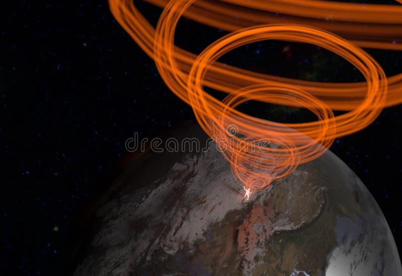 Sirva la silueta en espacio en la tierra con flujo enérgico El estado meditativo del alma del ` s del hombre ilustración 3D ilustración del vector