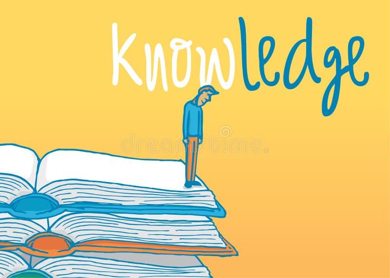 Sirva la situación en la repisa de algunos libros que hacen frente a conocimiento libre illustration