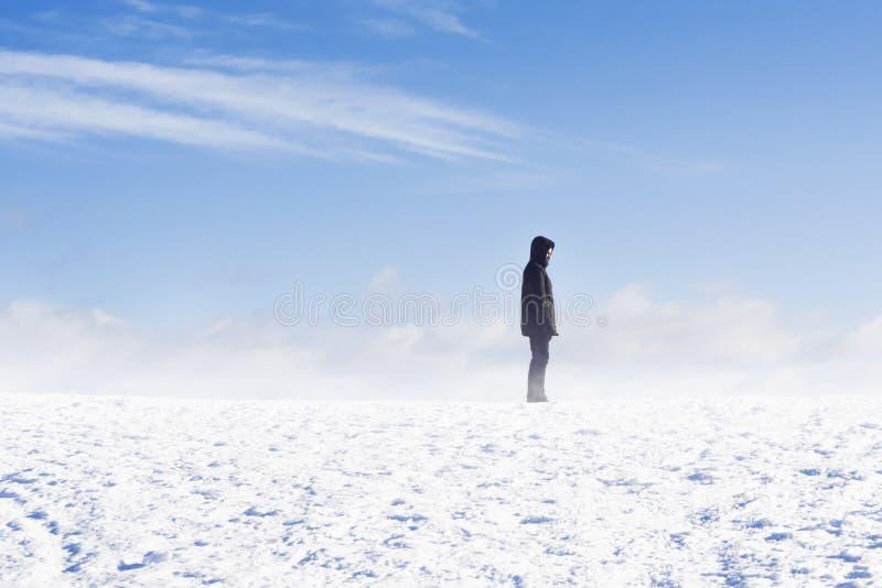 Sirva la situación en ráfaga de nieve contra el cielo azul imagenes de archivo