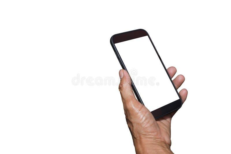Sirva la tenencia de la mano y móvil con, teléfono celular, teléfono elegante con la pantalla aislada fotos de archivo libres de regalías