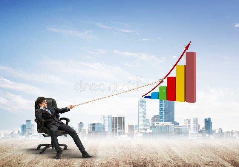 Sirva la tracción con el gráfico grande de la cuerda de tracción de esfuerzo, como símbolo del crecimiento financiero libre illustration