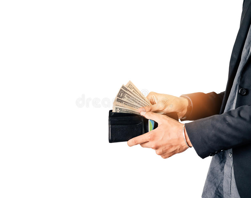Sirva las manos que abren la cartera y muestre el billete de banco del dólar imagen de archivo libre de regalías