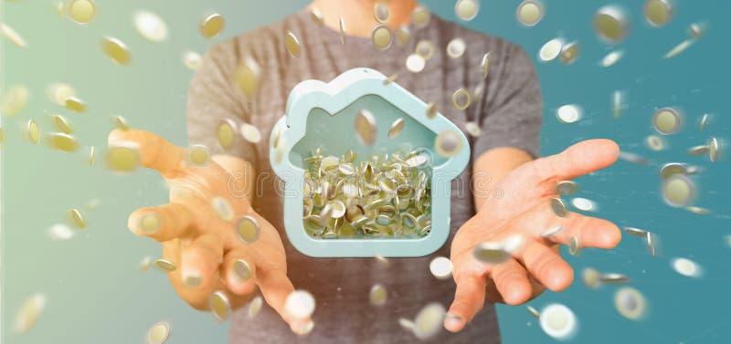Sirva llevar a cabo un moneybox de la casa con la moneda que rodea por todo 3d r imagen de archivo libre de regalías