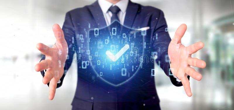 Sirva llevar a cabo una representación del concepto 3d de la seguridad del web del escudo fotos de archivo libres de regalías