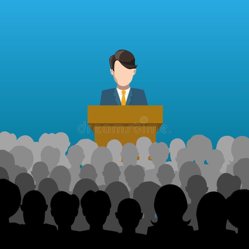 Sirva los controles una conferencia a un ejemplo de la audiencia ilustración del vector