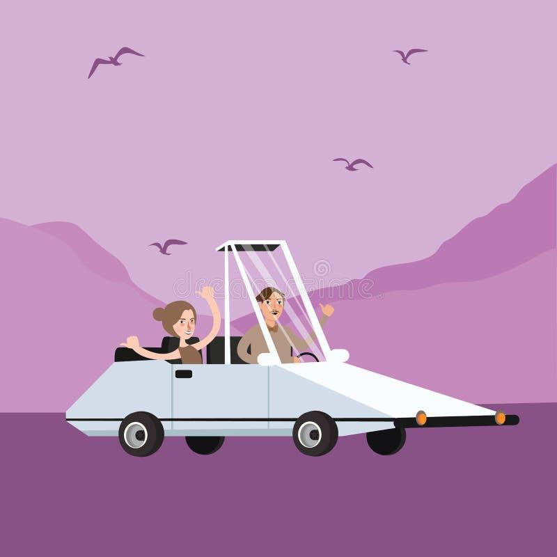 Sirva los pares de la mujer que montan el ejemplo formado extraño divertido de la historieta del coche ilustración del vector