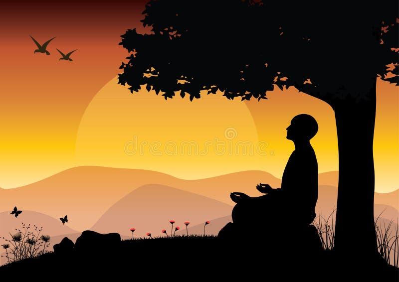 Sirva meditar en la posición de la yoga que se sienta respecto al top de las montañas sobre las nubes en la puesta del sol Zen, m ilustración del vector
