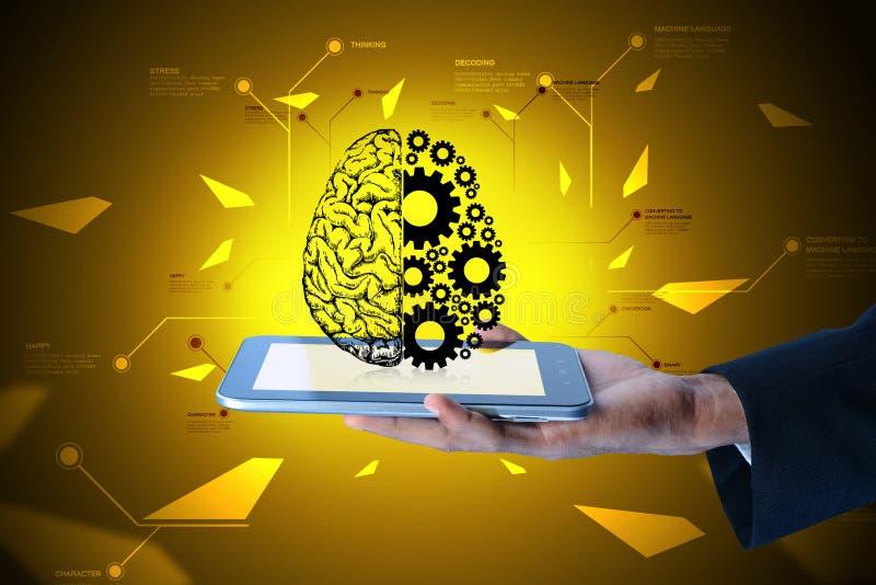 Sirva mostrar las ruedas del cerebro y de engranaje en el teléfono elegante libre illustration