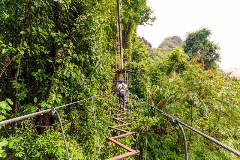 sirva pasar en aventura del zipline a través del bosque en Lao foto de archivo