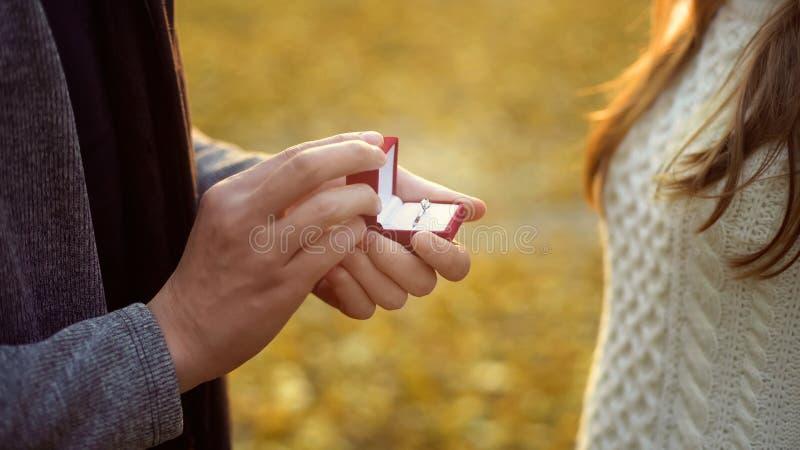 Sirva proponer a la novia querida en el bosque del otoño, atmósfera romántica imagen de archivo
