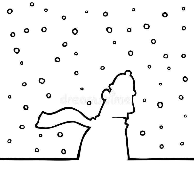Sirva recorrer a través del tiempo nevoso ilustración del vector